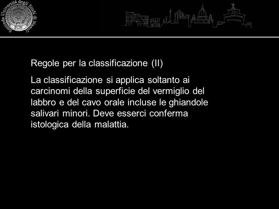 Regole per la classificazione (II) La classificazione si applica soltanto ai carcinomi della superficie del vermiglio del labbro e del cavo orale incl