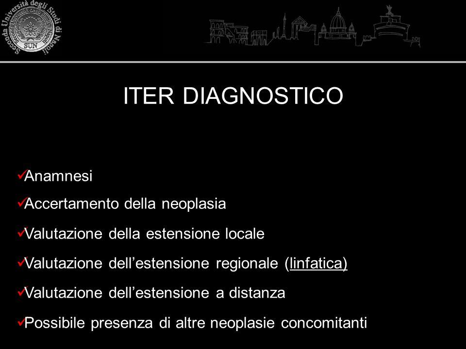 Anamnesi Accertamento della neoplasia Valutazione della estensione locale Valutazione dellestensione regionale (linfatica) Valutazione dellestensione