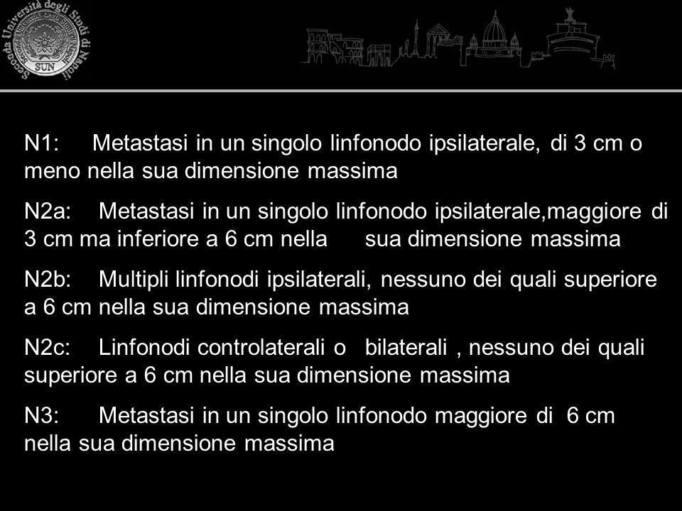 N1: Metastasi in un singolo linfonodo ipsilaterale, di 3 cm o meno nella sua dimensione massima N2a: Metastasi in un singolo linfonodo ipsilaterale,ma