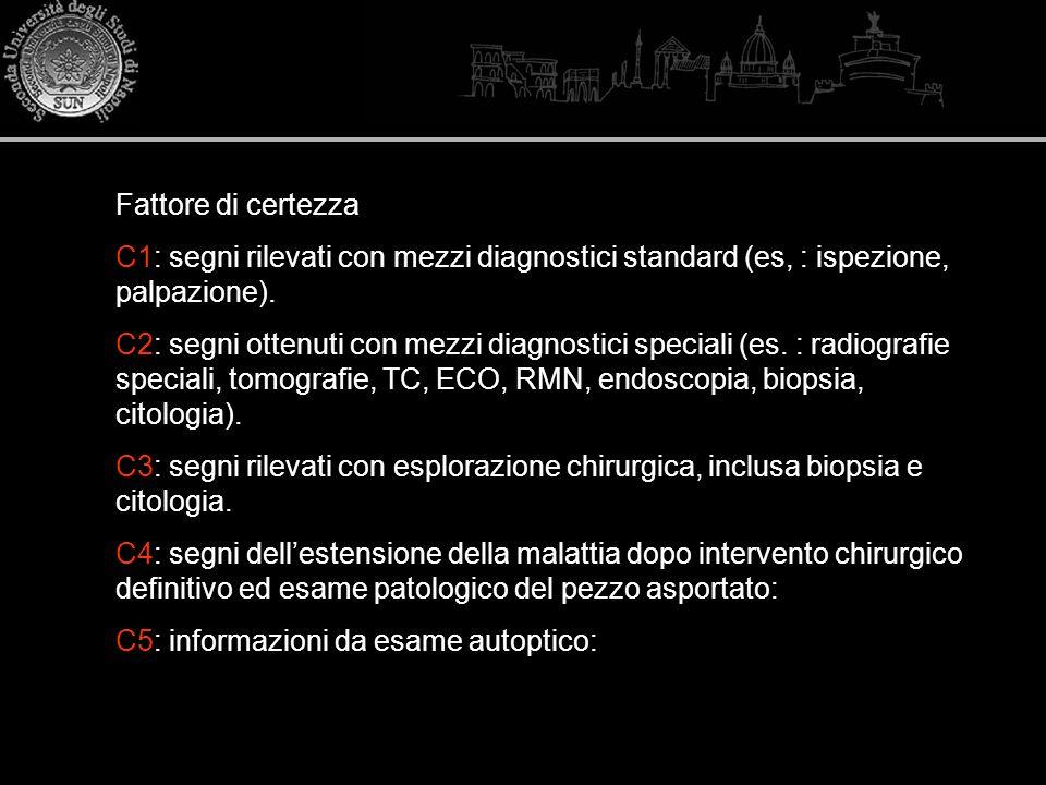 Fattore di certezza C1: segni rilevati con mezzi diagnostici standard (es, : ispezione, palpazione). C2: segni ottenuti con mezzi diagnostici speciali