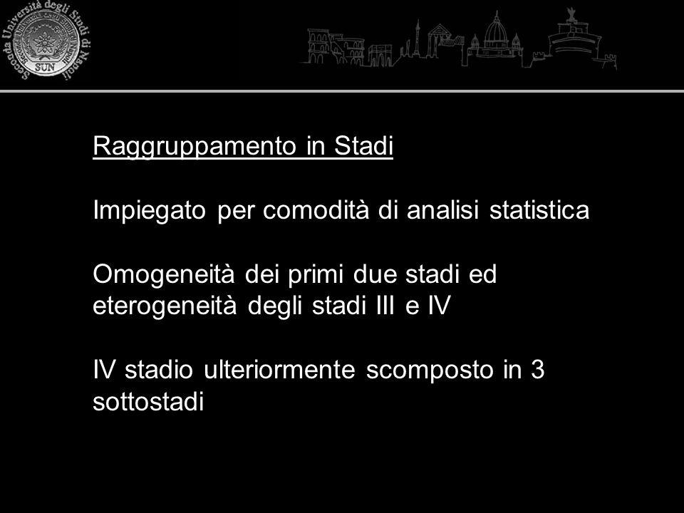 Raggruppamento in Stadi Impiegato per comodità di analisi statistica Omogeneità dei primi due stadi ed eterogeneità degli stadi III e IV IV stadio ult