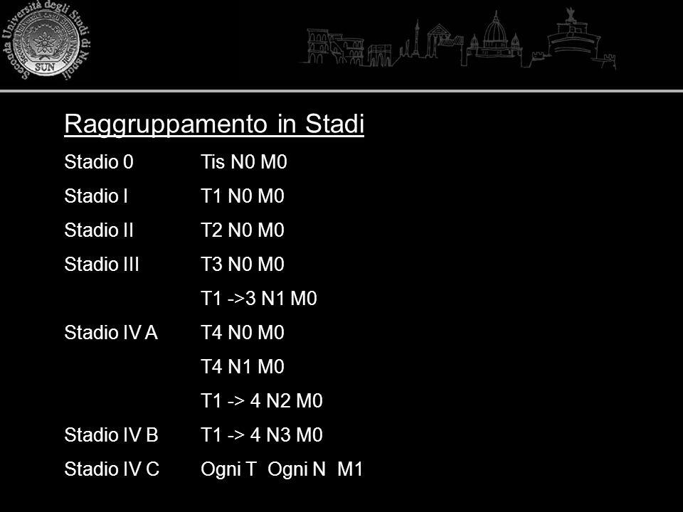 Raggruppamento in Stadi Stadio 0Tis N0 M0 Stadio IT1 N0 M0 Stadio IIT2 N0 M0 Stadio IIIT3 N0 M0 T1 ->3 N1 M0 Stadio IV AT4 N0 M0 T4 N1 M0 T1 -> 4 N2 M