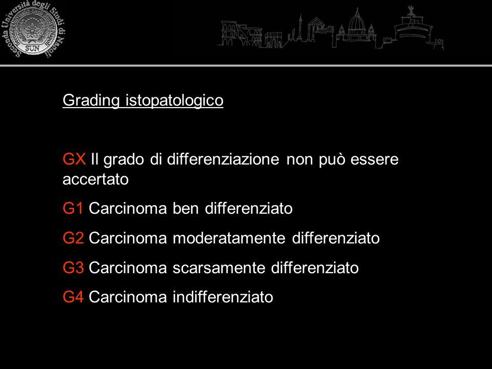 Grading istopatologico GX Il grado di differenziazione non può essere accertato G1 Carcinoma ben differenziato G2 Carcinoma moderatamente differenziat