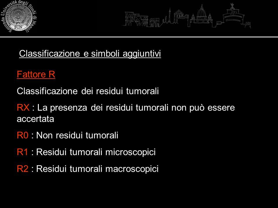 Fattore R Classificazione dei residui tumorali RX : La presenza dei residui tumorali non può essere accertata R0 : Non residui tumorali R1 : Residui t