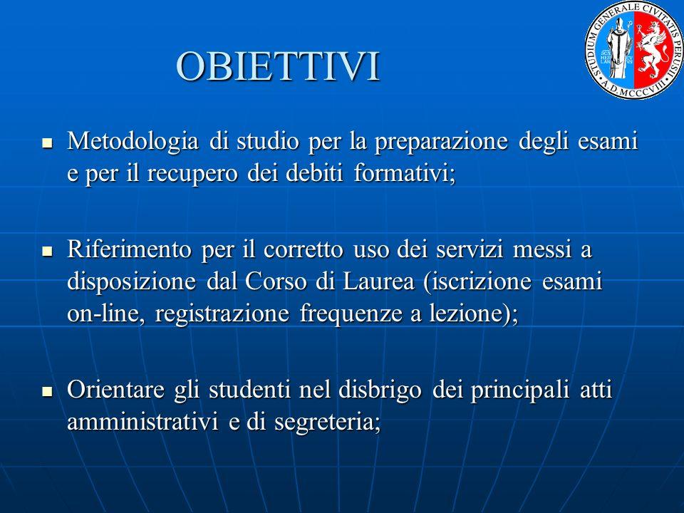Metodologia di studio per la preparazione degli esami e per il recupero dei debiti formativi; Metodologia di studio per la preparazione degli esami e