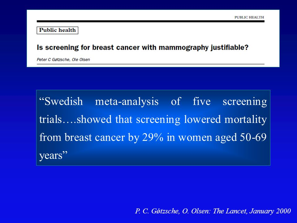 Swedish meta-analysis of five screening trials….showed that screening lowered mortality from breast cancer by 29% in women aged 50-69 years P.