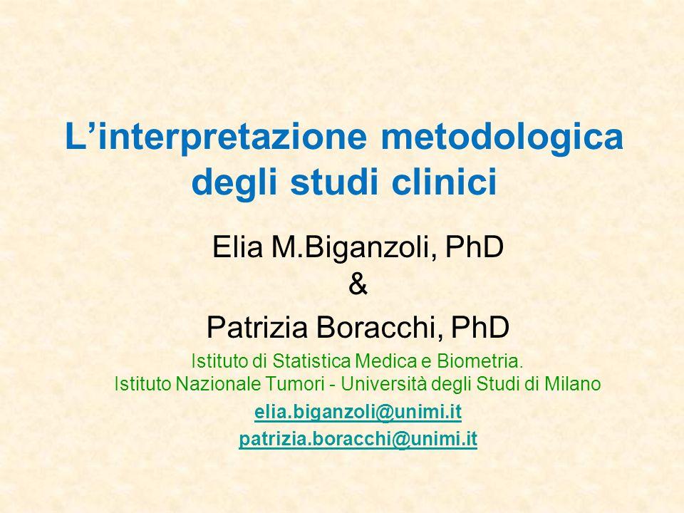Linterpretazione metodologica degli studi clinici Elia M.Biganzoli, PhD & Patrizia Boracchi, PhD Istituto di Statistica Medica e Biometria. Istituto N