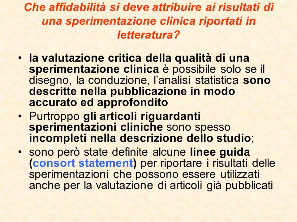Che affidabilità si deve attribuire ai risultati di una sperimentazione clinica riportati in letteratura? la valutazione critica della qualità di una