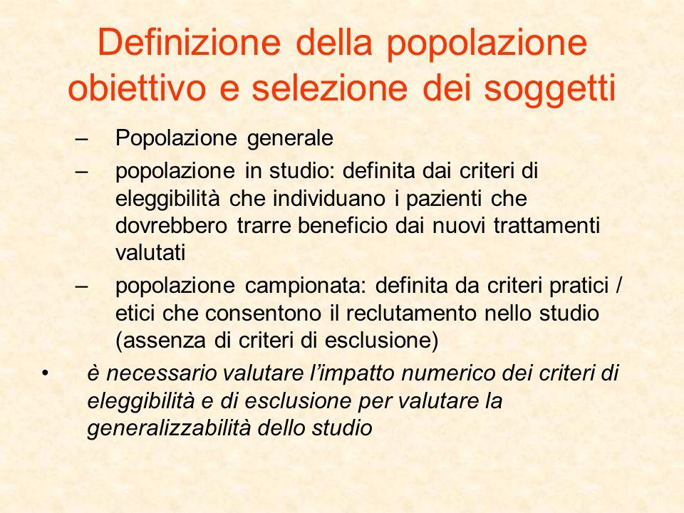 Definizione della popolazione obiettivo e selezione dei soggetti –Popolazione generale –popolazione in studio: definita dai criteri di eleggibilità ch