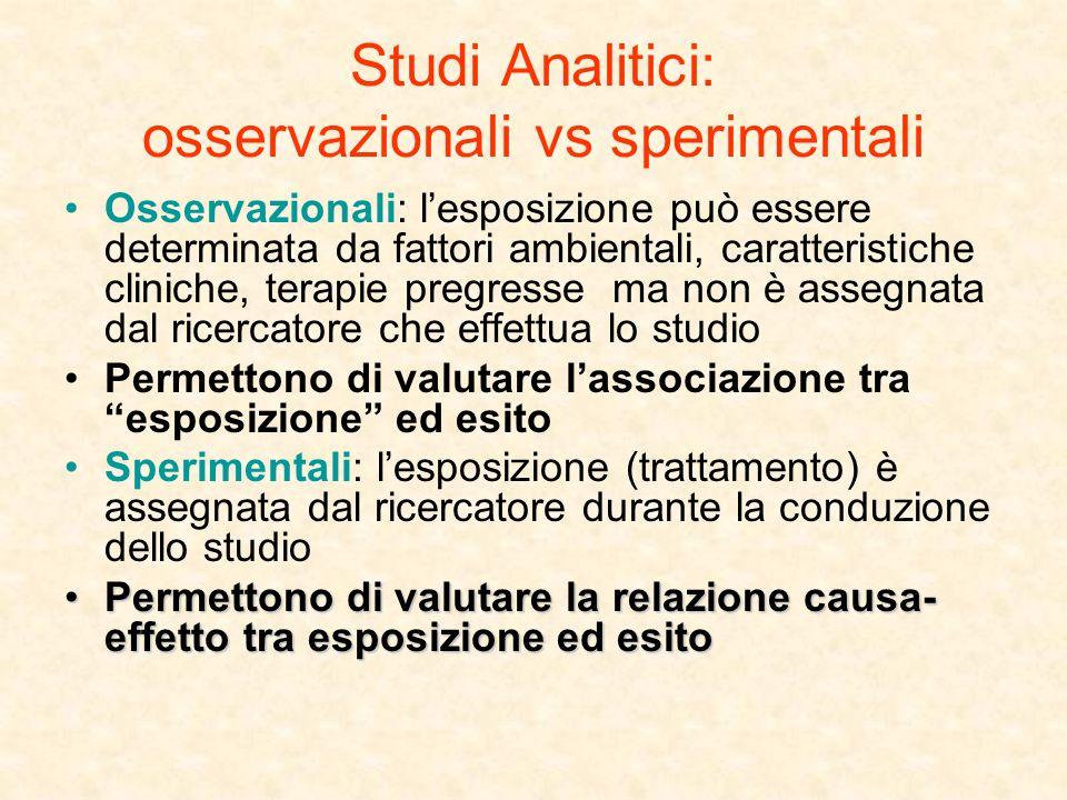 Studi Analitici: osservazionali vs sperimentali Osservazionali: lesposizione può essere determinata da fattori ambientali, caratteristiche cliniche, t
