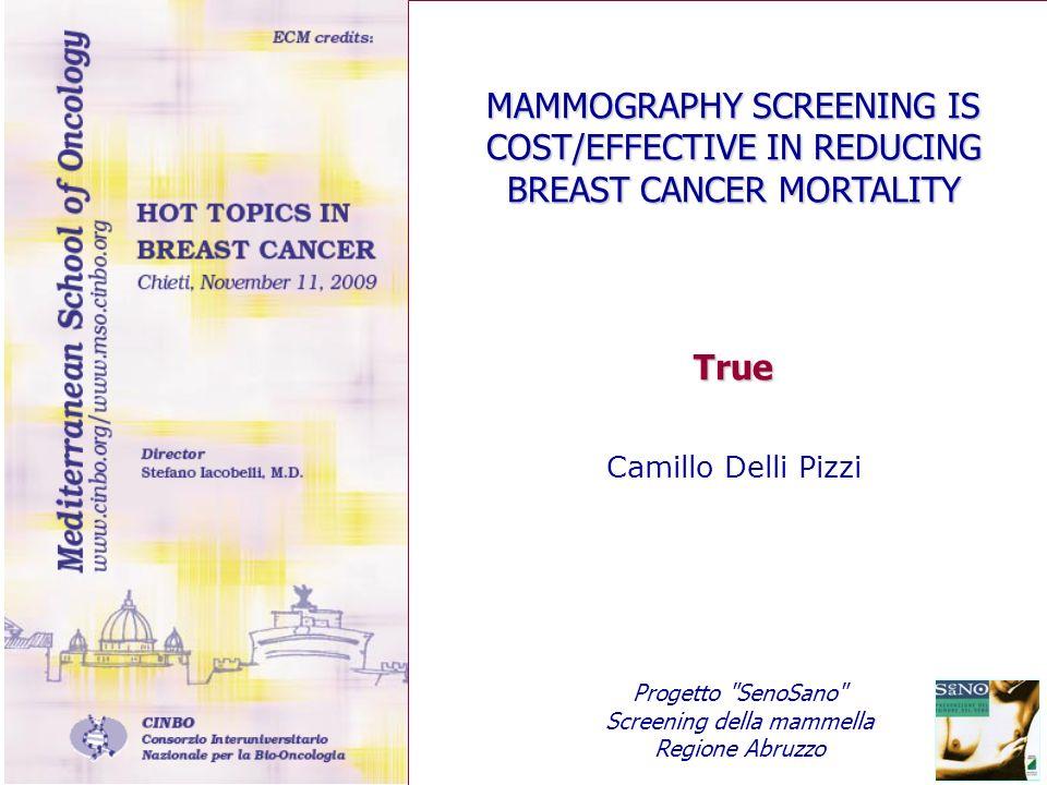 MAMMOGRAPHY SCREENING IS COST/EFFECTIVE IN REDUCING BREAST CANCER MORTALITY True Camillo Delli Pizzi Progetto