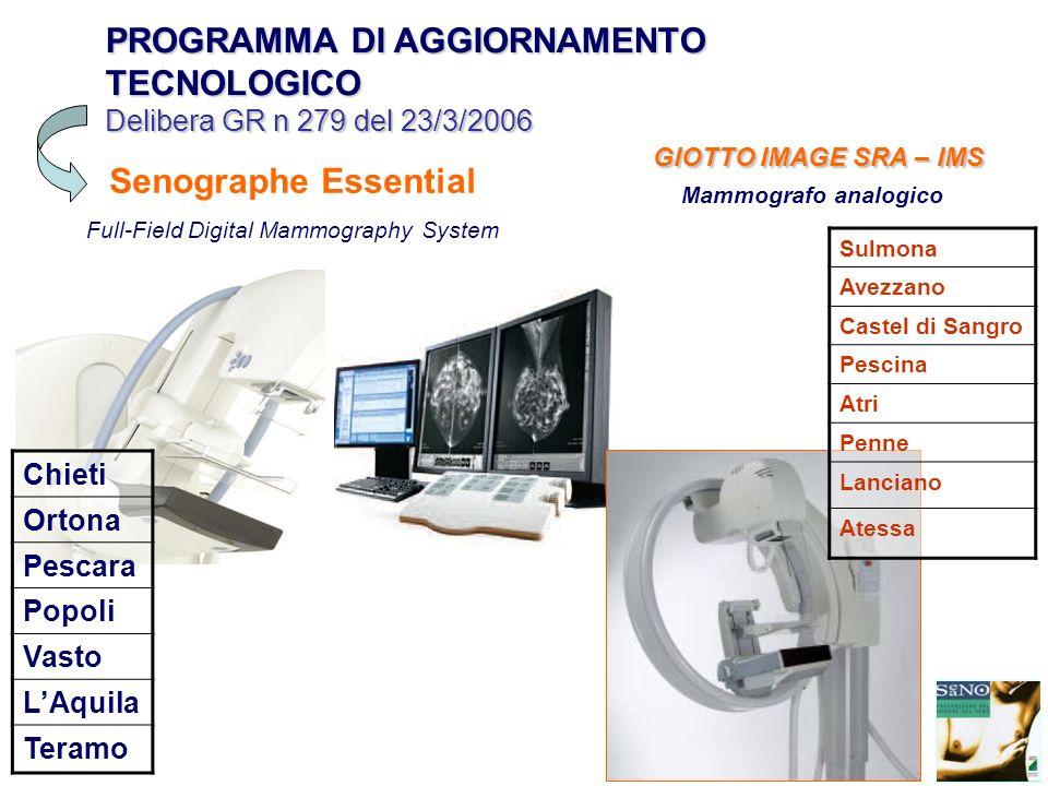 PROGRAMMA DI AGGIORNAMENTO TECNOLOGICO Delibera GR n 279 del 23/3/2006 Senographe Essential Full-Field Digital Mammography System Chieti Ortona Pescar