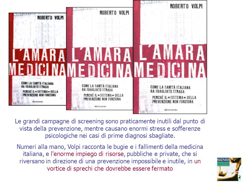 Screening mammografico Evidenze da studi randomizzati con end-point la mortalità per carcinoma mammario Ciatto-2001