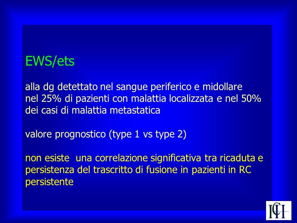 EWS/ets alla dg detettato nel sangue periferico e midollare nel 25% di pazienti con malattia localizzata e nel 50% dei casi di malattia metastatica va