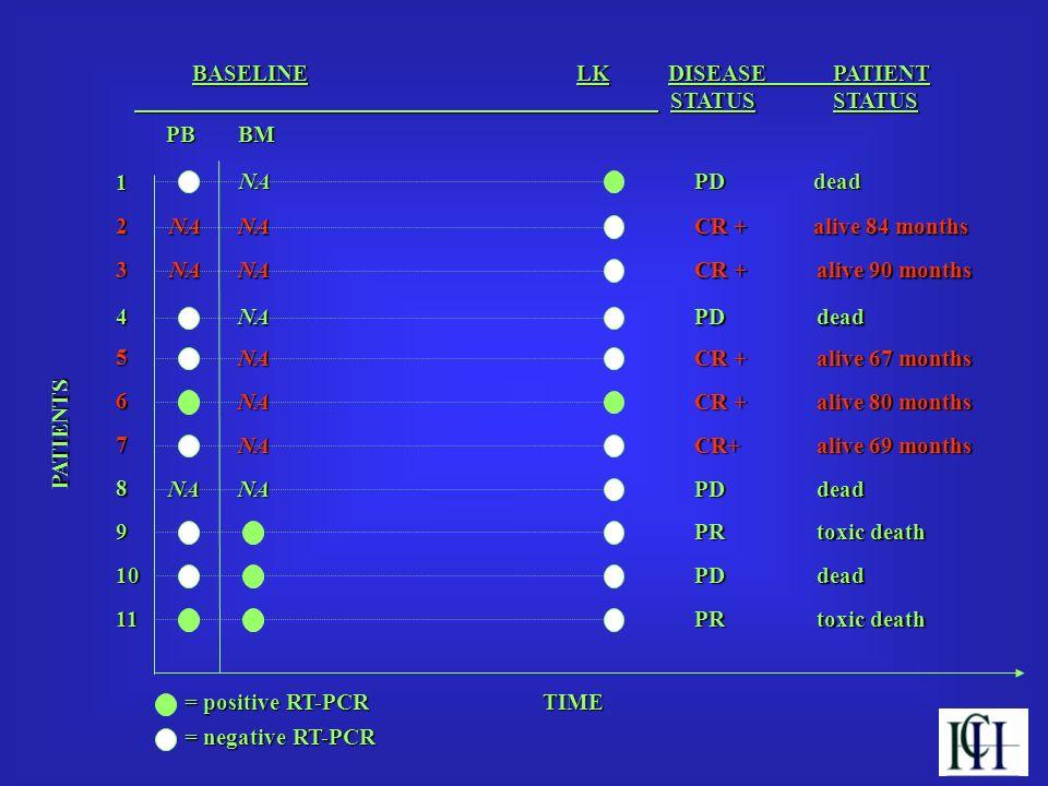BASELINE LK DISEASE PATIENT BASELINE LK DISEASE PATIENT STATUSSTATUS STATUSSTATUS TIME PB PATIENTS PATIENTS 1 2 3 4 5 6 7 8 9 10 11 NA NA NA NA NA NA