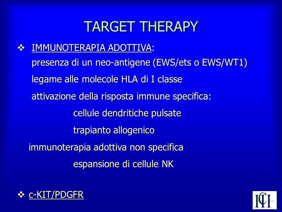 TARGET THERAPY v IMMUNOTERAPIA ADOTTIVA: presenza di un neo-antigene (EWS/ets o EWS/WT1) presenza di un neo-antigene (EWS/ets o EWS/WT1) legame alle m