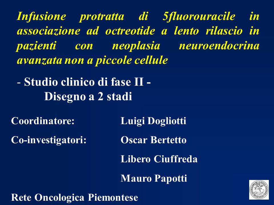 Obiettivo primario: --attività dello schema Obiettivi secondari: --tempo a progressione (TTP) -- controllo dei sintomi correlati alla iperproduzione ormonale --effetto del trattamento sullespressione dei marcatori tumorali specifici e aspecifici --tollerabilità del trattamento -- sopravvivenza 5FU IN INFUSIONE CONTINUA + OCTREOTIDE LAR: OBIETTIVI