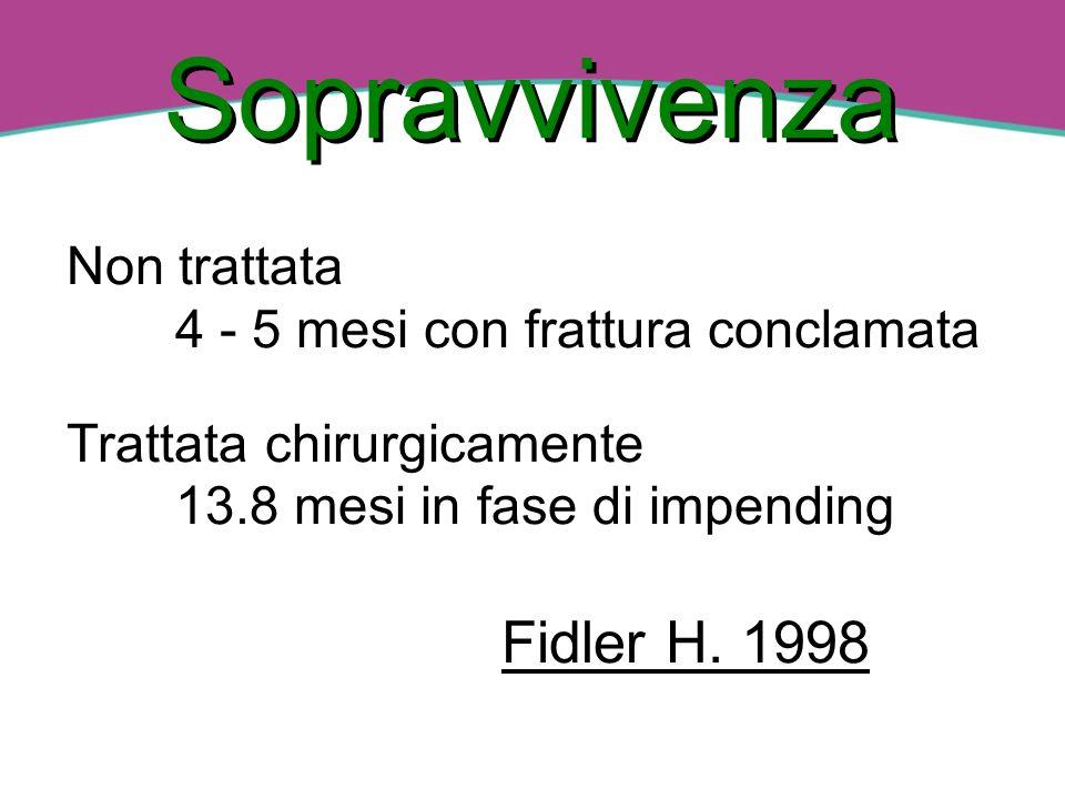 Il potenziale di guarigione delle fratture patologiche non trattate è: 4 - 7 % Beal, Clain, Takita 1990