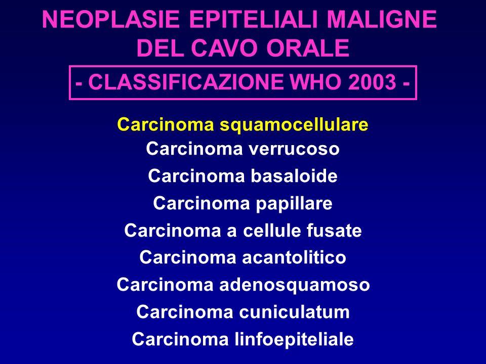 - CLASSIFICAZIONE WHO 2003 - NEOPLASIE EPITELIALI MALIGNE DEL CAVO ORALE Carcinoma squamocellulare Carcinoma verrucoso Carcinoma basaloide Carcinoma p