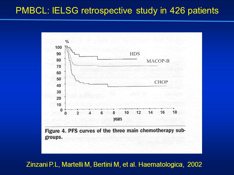 Zinzani P.L, Martelli M, Bertini M, et al. Haematologica, 2002 PMBCL: IELSG retrospective study in 426 patients