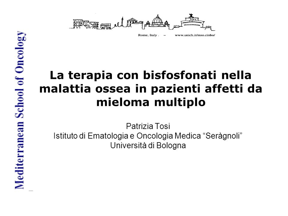 Attività antineoplastica di acido Zoledronico Event-free survivalOverall survival P <.01 Gnant et al, N Engl J Med 2008 Aviles et al, Med Oncol 2007