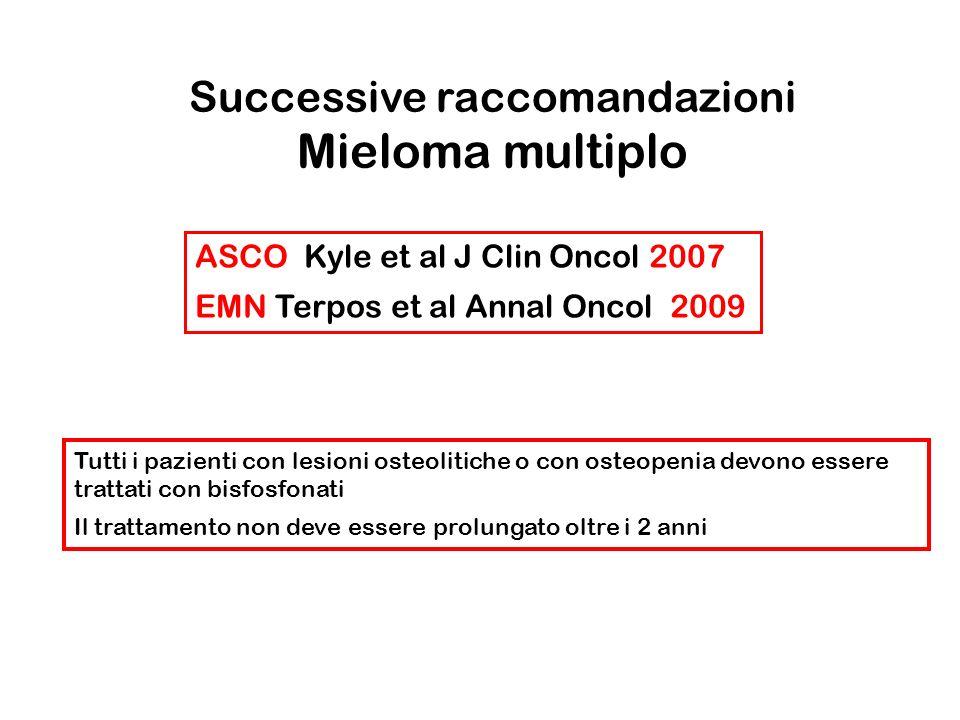 ASCO Kyle et al J Clin Oncol 2007 EMN Terpos et al Annal Oncol 2009 Tutti i pazienti con lesioni osteolitiche o con osteopenia devono essere trattati