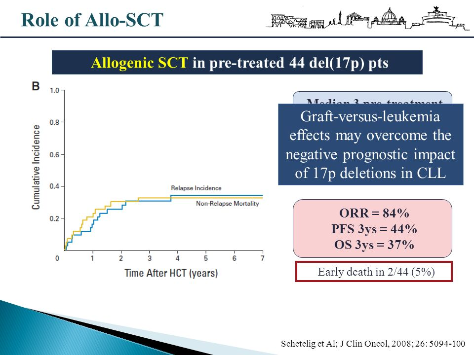 Role of Allo-SCT Schetelig et Al; J Clin Oncol, 2008; 26: 5094-100 43 (98%) Fludarabine 19 (43%) Alemtuzumab 13 (30%) Auto-SCT Median 3 pre-treatment (range 2-7) ORR = 84% PFS 3ys = 44% OS 3ys = 37% Early death in 2/44 (5%) Allogenic SCT in pre-treated 44 del(17p) pts Graft-versus-leukemia effects may overcome the negative prognostic impact of 17p deletions in CLL