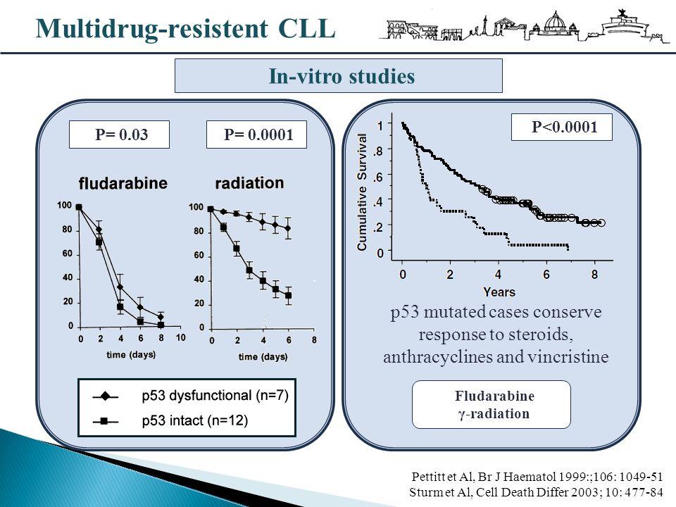 Multidrug-resistent CLL Pettitt et Al, Br J Haematol 1999:;106: 1049-51 Sturm et Al, Cell Death Differ 2003; 10: 477-84 In-vitro studies P= 0.03 P<0.0001 Fludarabine γ-radiation p53 mutated cases conserve response to steroids, anthracyclines and vincristine P= 0.0001