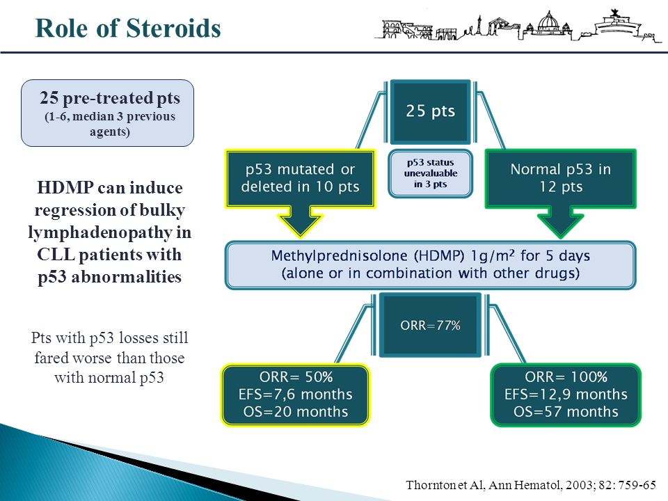 Role of Steroids Thornton et Al, Ann Hematol, 2003; 82: 759-65 25 pre-treated pts (1-6, median 3 previous agents) HDMP can induce regression of bulky
