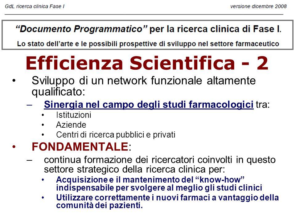 Efficienza Strutturale Sviluppo di un network funzionale altamente qualificato: –Sinergia nel campo degli studi farmacologici tra: Istituzioni Aziende