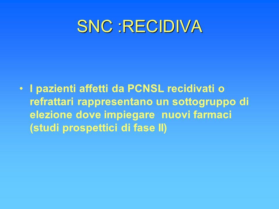 SNC :RECIDIVA I pazienti affetti da PCNSL recidivati o refrattari rappresentano un sottogruppo di elezione dove impiegare nuovi farmaci (studi prospet