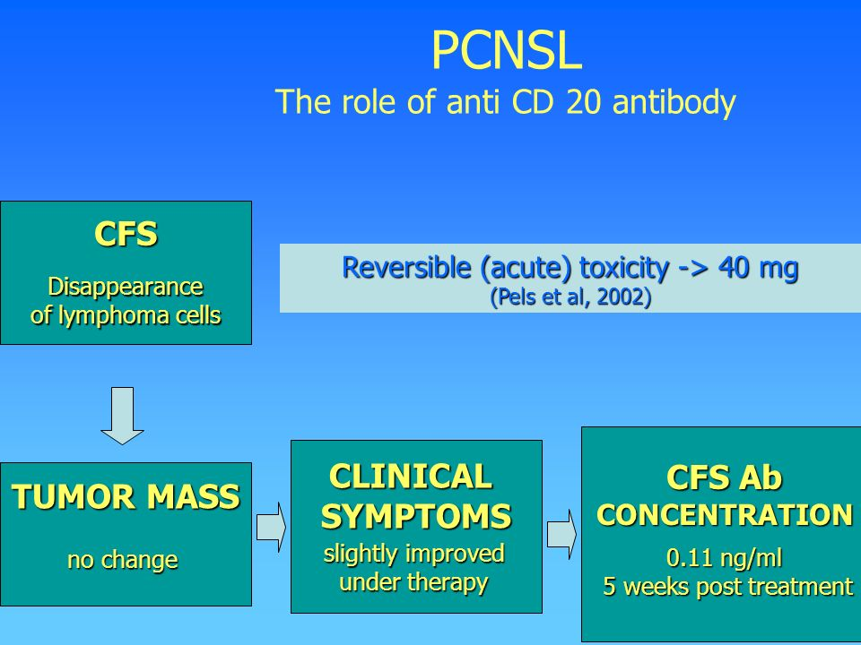 PCNSL The role of anti CD 20 antibody CFS Disappearance of lymphoma cells TUMOR MASS no change CFS Ab CONCENTRATION 0.11 ng/ml 5 weeks post treatment