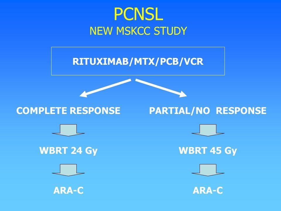 PCNSL NEW MSKCC STUDY COMPLETE RESPONSE WBRT 24 Gy ARA-C PARTIAL/NO RESPONSE WBRT 45 Gy ARA-C RITUXIMAB/MTX/PCB/VCR