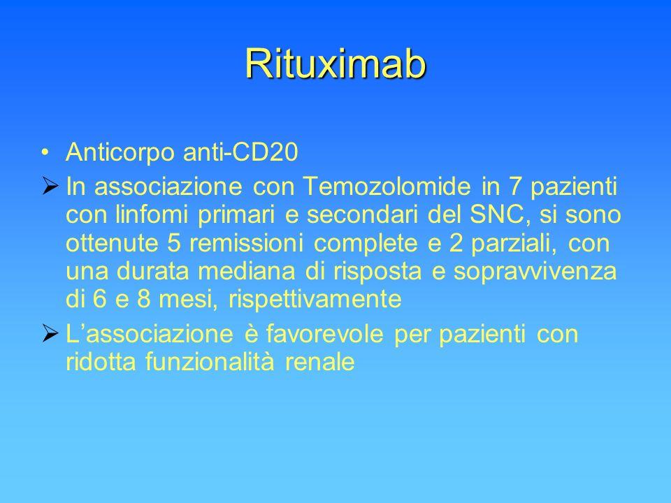 Rituximab Anticorpo anti-CD20 In associazione con Temozolomide in 7 pazienti con linfomi primari e secondari del SNC, si sono ottenute 5 remissioni co