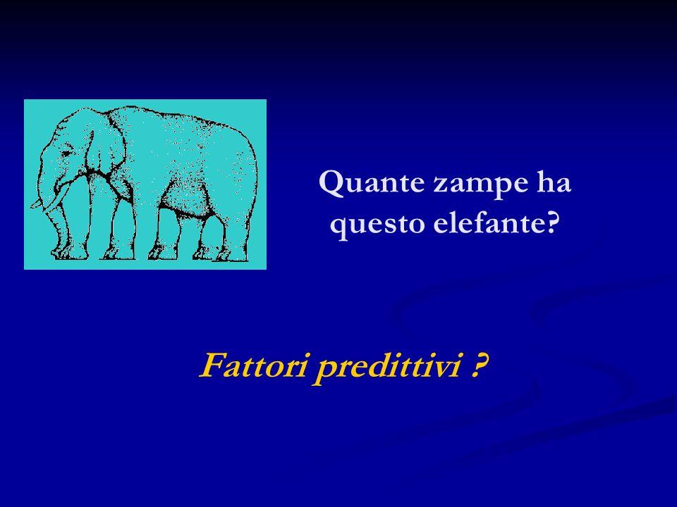 Quante zampe ha questo elefante? Fattori predittivi ?