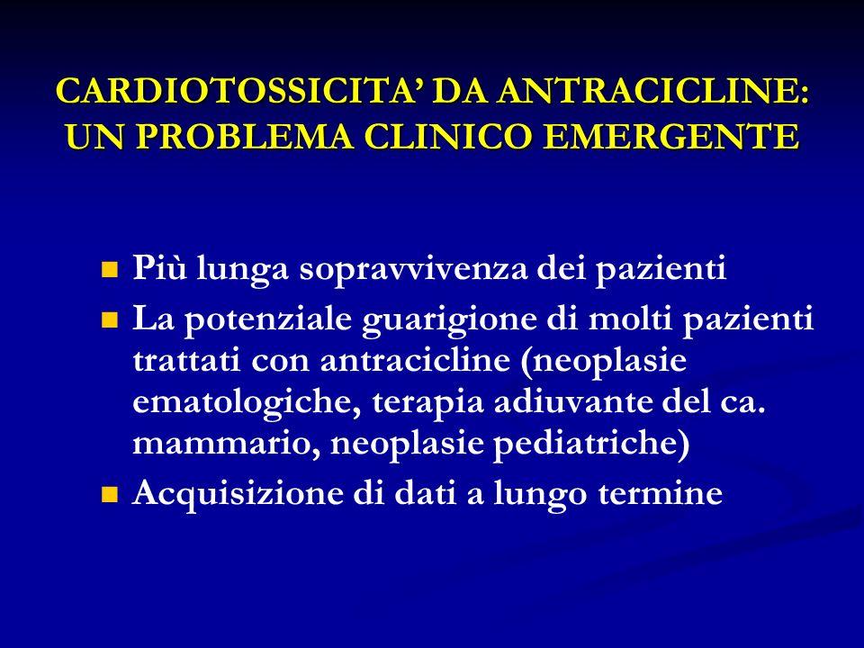 CARDIOTOSSICITA DA ANTRACICLINE: UN PROBLEMA CLINICO EMERGENTE Più lunga sopravvivenza dei pazienti La potenziale guarigione di molti pazienti trattat