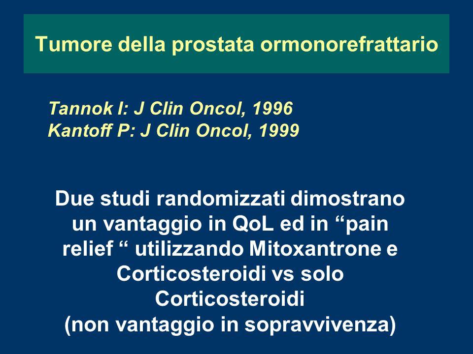 Tumore della prostata ormonorefrattario Tannok I: J Clin Oncol, 1996 Kantoff P: J Clin Oncol, 1999 Due studi randomizzati dimostrano un vantaggio in QoL ed in pain relief utilizzando Mitoxantrone e Corticosteroidi vs solo Corticosteroidi (non vantaggio in sopravvivenza)