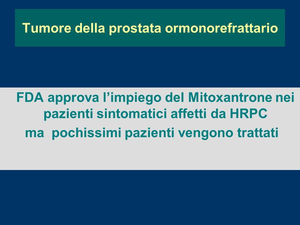 FDA approva limpiego del Mitoxantrone nei pazienti sintomatici affetti da HRPC ma pochissimi pazienti vengono trattati