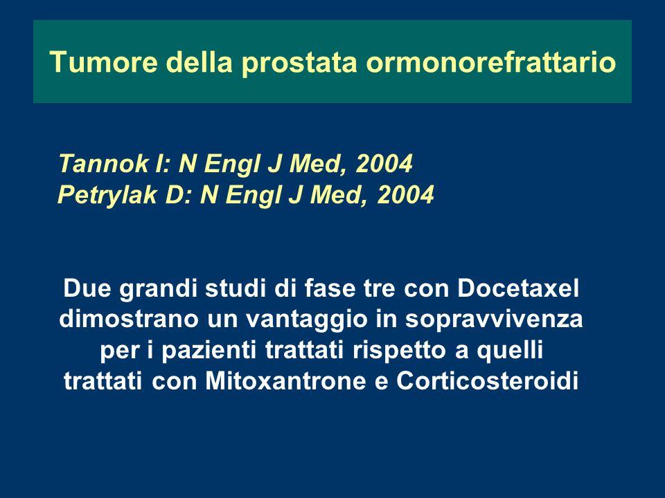 Tumore della prostata ormonorefrattario Tannok I: N Engl J Med, 2004 Petrylak D: N Engl J Med, 2004 Due grandi studi di fase tre con Docetaxel dimostrano un vantaggio in sopravvivenza per i pazienti trattati rispetto a quelli trattati con Mitoxantrone e Corticosteroidi
