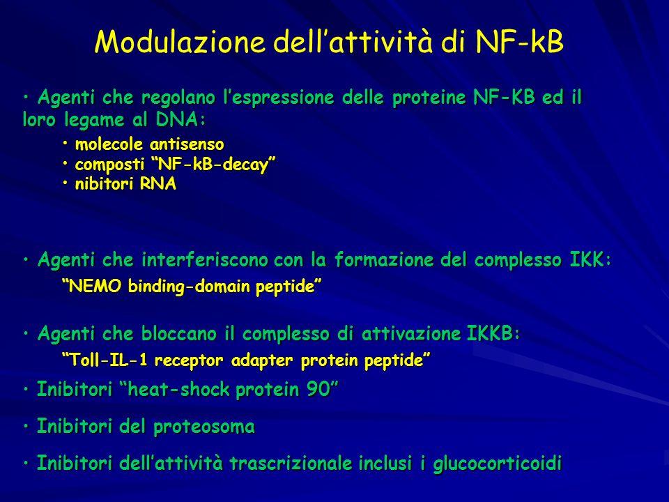 Modulazione dellattività di NF-kB Inibitori dellattività trascrizionale inclusi i glucocorticoidi Inibitori dellattività trascrizionale inclusi i gluc
