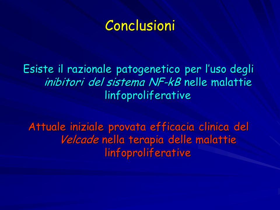 Conclusioni Esiste il razionale patogenetico per luso degli inibitori del sistema NF-kB nelle malattie linfoproliferative Attuale iniziale provata eff