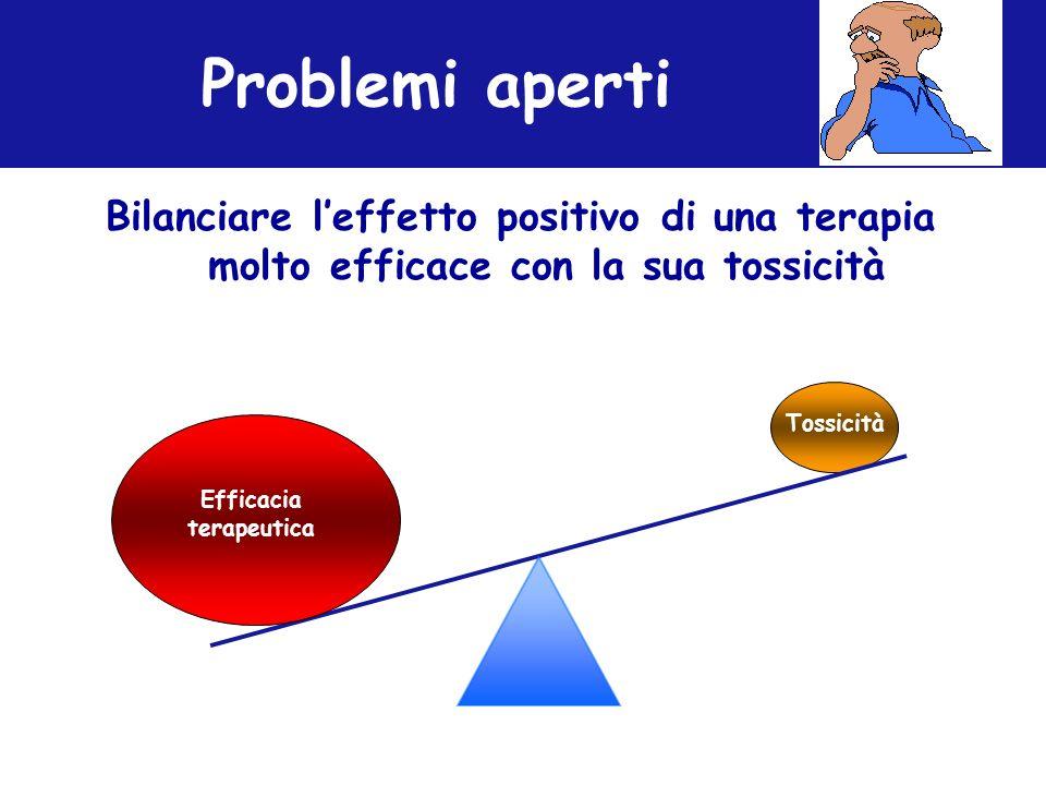 Problemi aperti Bilanciare leffetto positivo di una terapia molto efficace con la sua tossicità Efficacia terapeutica Tossicità