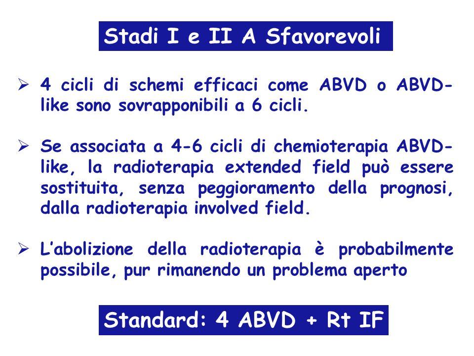 4 cicli di schemi efficaci come ABVD o ABVD- like sono sovrapponibili a 6 cicli. Se associata a 4-6 cicli di chemioterapia ABVD- like, la radioterapia