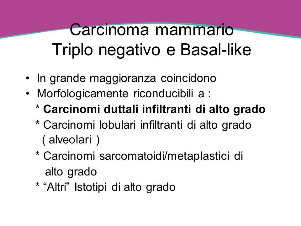 Carcinoma mammario Triplo negativo e Basal-like In grande maggioranza coincidono Morfologicamente riconducibili a : * Carcinomi duttali infiltranti di