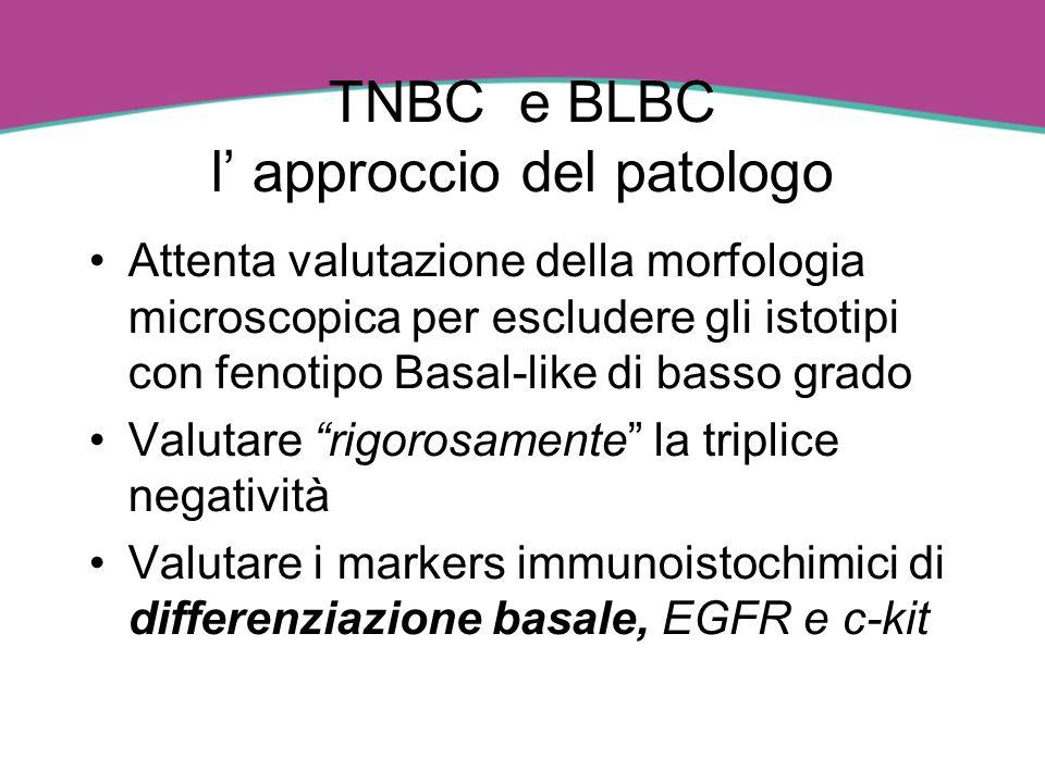 TNBC e BLBC l approccio del patologo Attenta valutazione della morfologia microscopica per escludere gli istotipi con fenotipo Basal-like di basso gra