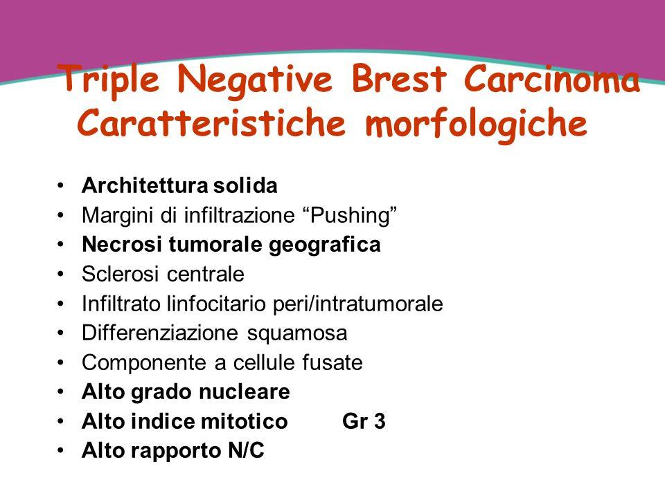 Triple Negative Brest Carcinoma Caratteristiche morfologiche Architettura solida Margini di infiltrazione Pushing Necrosi tumorale geografica Sclerosi