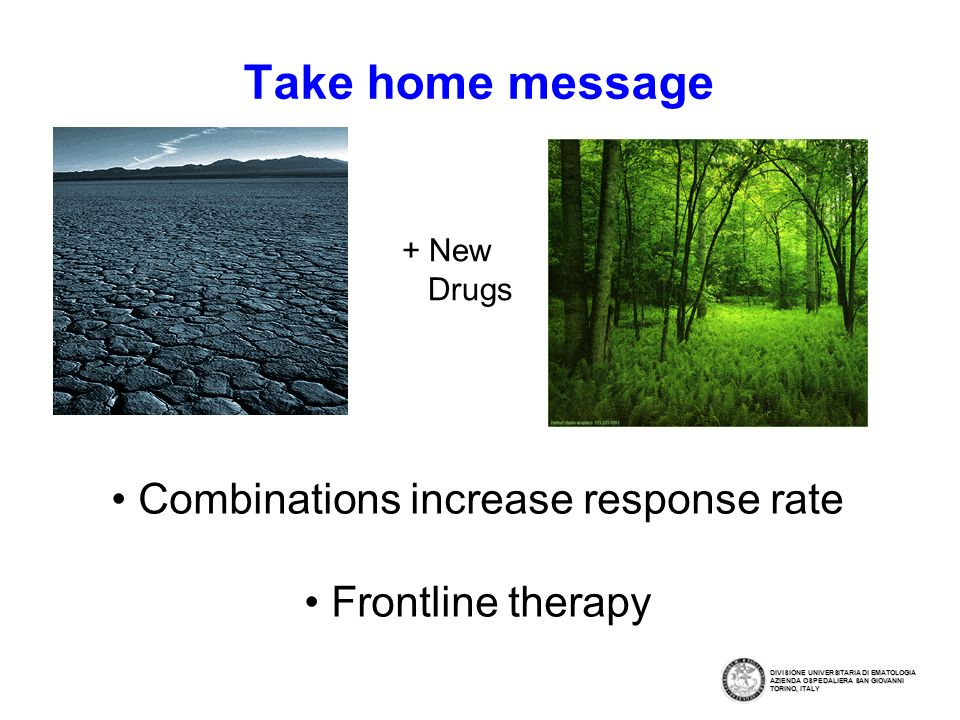 Take home message Combinations increase response rate Frontline therapy + New Drugs DIVISIONE UNIVERSITARIA DI EMATOLOGIA AZIENDA OSPEDALIERA SAN GIOVANNI TORINO, ITALY