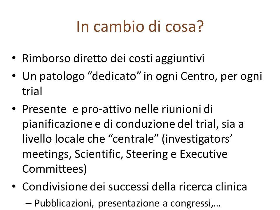 In cambio di cosa? Rimborso diretto dei costi aggiuntivi Un patologo dedicato in ogni Centro, per ogni trial Presente e pro-attivo nelle riunioni di p