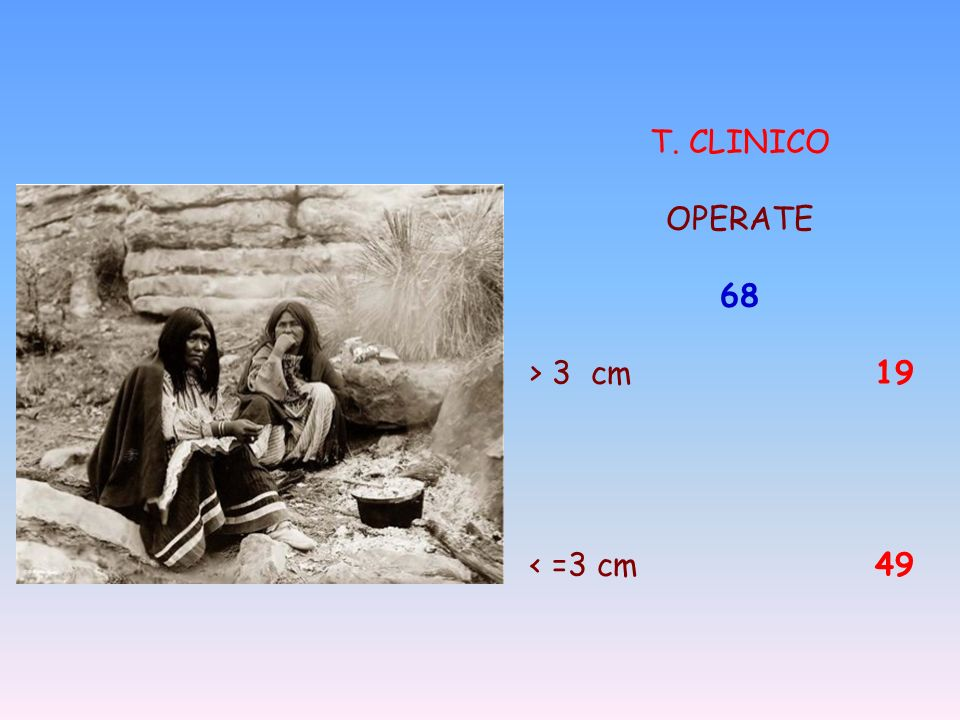 T. CLINICO OPERATE 68 > 3 cm 19 < =3 cm 49