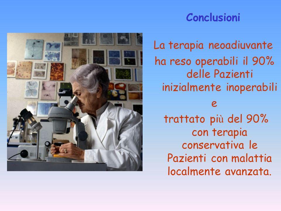 La terapia neoadiuvante ha reso operabili il 90% delle Pazienti inizialmente inoperabili e trattato pi ù del 90% con terapia conservativa le Pazienti